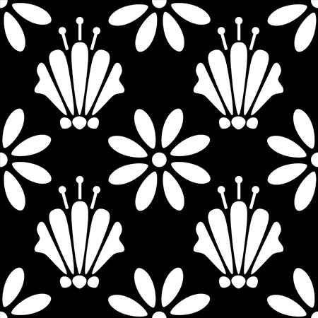 nenuphar: Abstract seamless pattern with silhouettes flowers in black and white. Floral repeating monochrome background. Endless print texture. Fabric design. Wallpaper