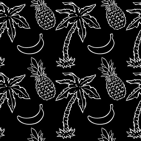 cartoon palm tree: Abstract seamless pattern with tropical coconut palm trees and pineapples and bananas in black and white. Floral repeating monochrome background. Endless print texture. Fabric design. Wallpaper