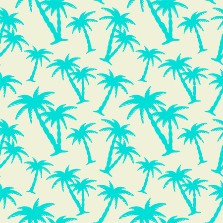 coconut palm: Abstract floral seamless pattern with silhouettes tropical coconut palm trees. Summer background. Endless print texture. Fabric design. Wallpaper Illustration