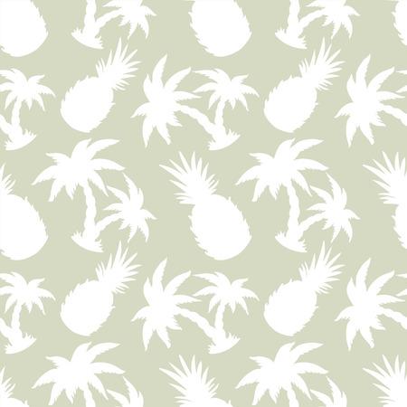 feuille arbre: Abstract light seamless silhouettes tropicales cocotiers et les ananas. fond répétition Floral. Sans fin texture d'impression. Création de tissus. Fond d'écran Illustration