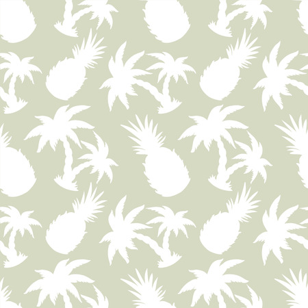 Abstract light seamless pattern with silhouettes tropical coconut palm trees and pineapples. Floral repeating background. Endless print texture. Fabric design. Wallpaper Illustration