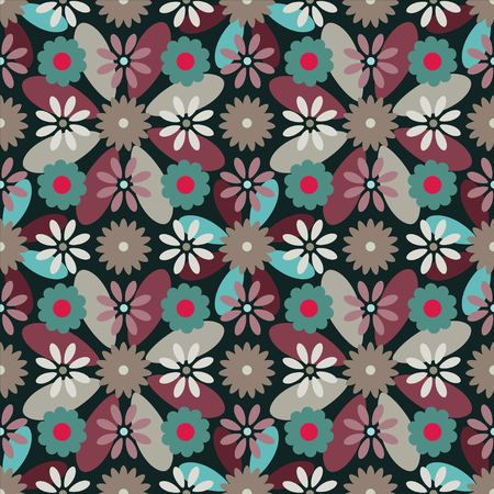 flowerbed: Abstract seamless pattern with silhouettes flowers. Floral repeating background. Endless print texture. Fabric design. Illustration