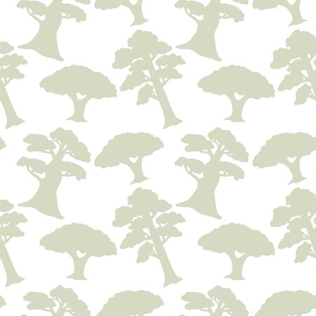 Seamless pattern with silhouettes trees. Abstract light floral repeating background. Endless print texture. Forest. Fabric design. Ilustracja