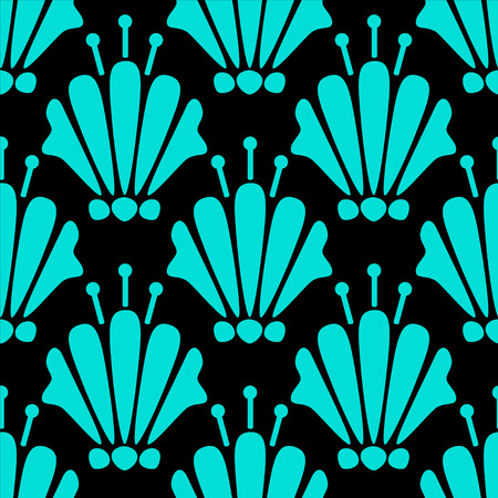 lillies: Abstract seamless pattern with silhouettes lily flowers in black and blue. Floral repeating monochrome background. Endless print texture. Fabric design.