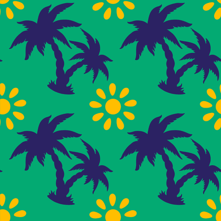 brazilian caribbean: Abstract floral seamless pattern with silhouettes tropical coconut palm trees and the sun. Summer background. Endless print texture. Illustration
