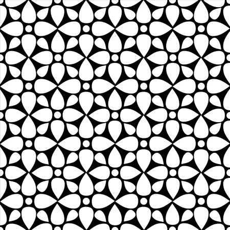 flowerbed: Abstract seamless pattern with silhouettes flowers in black and white. Floral repeating monochrome background. Endless print texture. Fabric design. Wallpaper