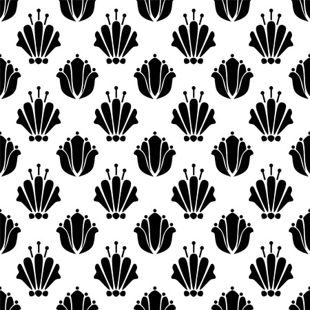 lotos: Abstract seamless pattern with silhouettes flowers in black and white. Floral repeating monochrome background. Endless print texture. Fabric design. Wallpaper