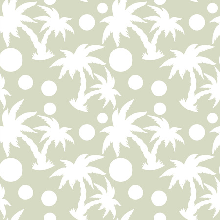 rain forest: Abstract light floral seamless pattern with silhouettes tropical coconut palm trees and circles. Beach background. Summer, tropics, rain forest. Endless print texture. Fabric design. Wallpaper