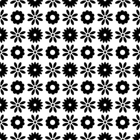 Seamless pattern with silhouettes flowers in black and white. Floral abstract repeating background. Endless print texture. Fabric design. Wallpaper Illustration