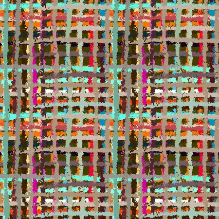 fabric swatch: Abstract art grunge seamless pattern. Geometric rainbow background. Graffiti. Paint stains. Spray. Stripes. Watercolor. Distressed texture. Fabric swatch - vector Illustration