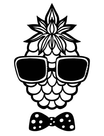 sun glasses: Pineapple, sun glasses and bow tie black sketch cartoon hand drawn illustration isolated on a white background - vector