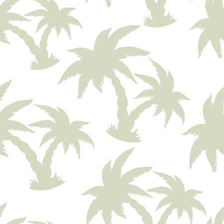 cartoon palm tree: Exotic caribbean seamless pattern with silhouettes tropical coconut palm trees. Summer, beach holidays. Endless print repeating texture. White background. Fabric design. Wallpaper - vector