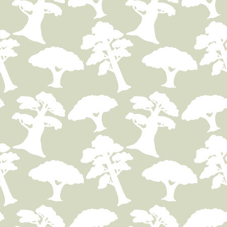 Seamless pattern with silhouettes trees. Abstract light floral repeating background. Endless print texture. Forest. Fabric design. Wallpaper - vector