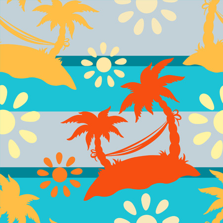 Exotic caribbean seamless pattern with silhouettes tropical coconut palm trees, sun, hammock. Summer, sea, island. Endless print repeating texture. Striped background. Wallpaper - vector Illustration