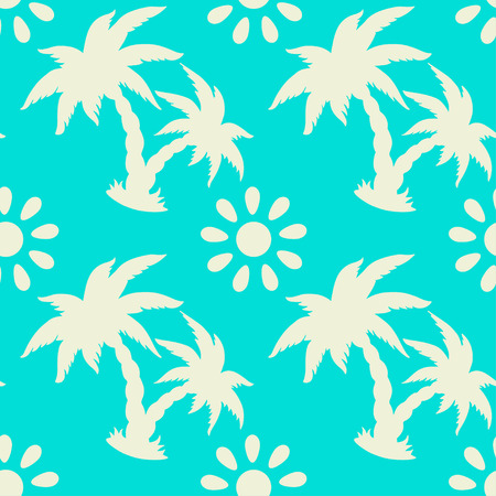 caribbean beach: Exotic caribbean seamless pattern with silhouettes tropical coconut palm trees and sun. Summer, beach holidays. Endless print repeating background texture. Fabric design. Wallpaper - vector