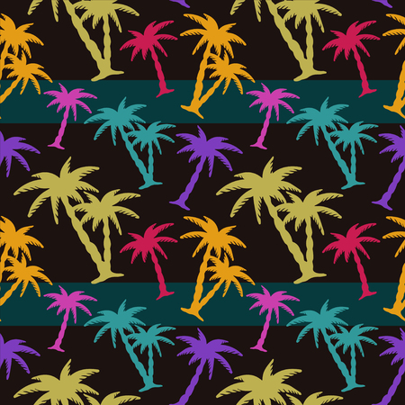 caribbean sea: Exotic caribbean seamless pattern with silhouettes tropical coconut palm trees. Summer, sea. Endless print repeating texture. Striped background. Wallpaper - vector Illustration