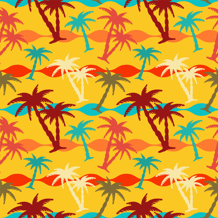 caribbean sea: Exotic caribbean seamless pattern with silhouettes tropical coconut palm trees. Summer, sea, beach holidays. Endless print repeating texture. Striped background. Wallpaper - vector