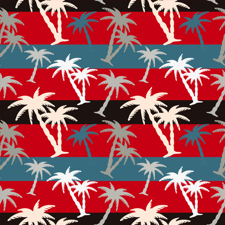 Exotic caribbean seamless pattern with silhouettes tropical coconut palm trees. Summer, beach holidays. Endless print repeating texture. Striped background. Wallpaper - vector
