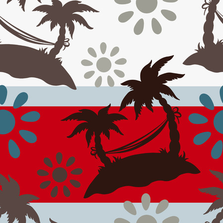 caribbean party: Exotic caribbean seamless pattern with silhouettes tropical coconut palm trees, sun, hammock. Summer, island. Endless print repeating texture. Striped background. Wallpaper - vector