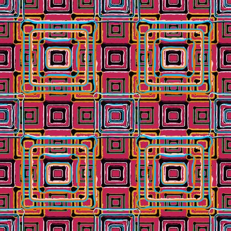 Arc-en-art abstrait grunge affligé seamless carrés. Taches de peinture. print africaine répéter texture de fond. Création de tissus. papier peint géométrique - vecteur