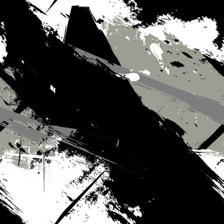Abstracte kunst grunge verontruste naadloos patroon. Verfvlekken. Strepen. Zwart-wit print achtergrond textuur. Fabric design. Wallpaper - vector
