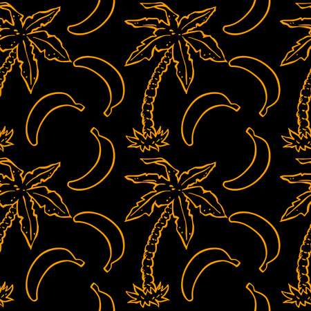 Exotic caribbean seamless pattern with silhouettes tropical coconut palm trees and bananas. Summer, fruits, beach holidays. Endless print repeating background texture. Wallpaper - vector