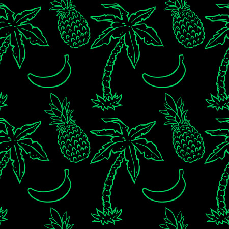 exotic gleam: Exotic caribbean seamless pattern with silhouettes tropical coconut palm trees, pineapples, bananas. Summer, fruits, beach holidays. Endless print repeating background texture. Wallpaper - vector