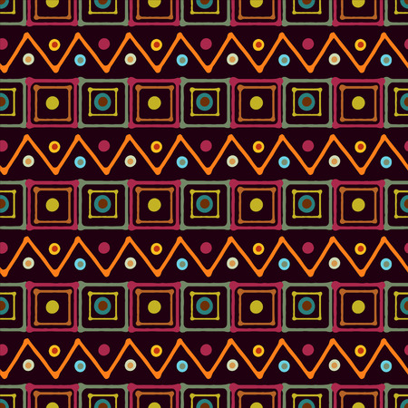 african fabric: Rainbow abstract art seamless pattern with squares, circles, triangles. Paint stains. African print repeating background. Geometric texture. Fabric design. Wallpaper - vector