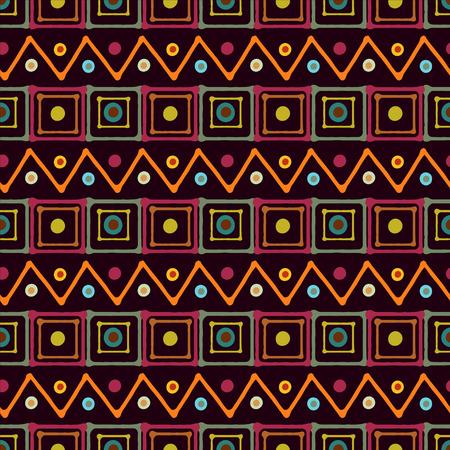 Arc-en-art abstrait seamless carrés, cercles, triangles. Taches de peinture. print africaine de fond répéter. texture géométrique. Création de tissus. Fond d'écran - vecteur