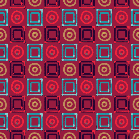 Abstract art ethnic distressed seamless pattern with squares and circles. Geometric repeating background texture. Fabric design. Wallpaper - vector