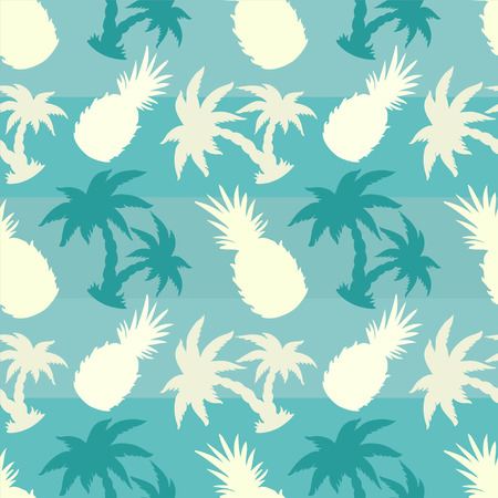 caribbean beach: Exotic caribbean seamless pattern with silhouettes tropical coconut palm trees and pineapples. Summer, fruits, beach holidays. Endless print repeating texture. Striped background. Wallpaper - vector Illustration