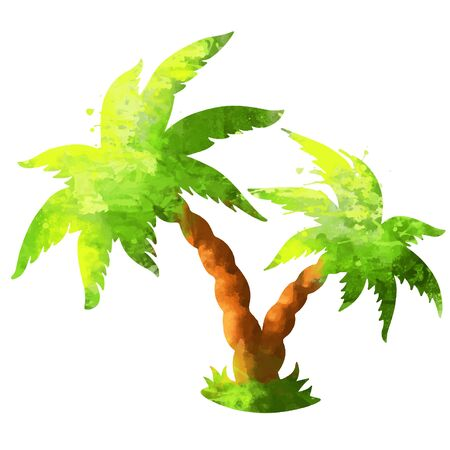Watercolor silhouette coconut palm tree isolated on a white background - vector Illustration