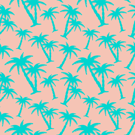 caribbean beach: Exotic caribbean seamless pattern with silhouettes tropical coconut palm trees. Summer, beach holidays. Repeating print background texture. Fabric design. Wallpaper - vector