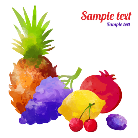 Set watercolor silhouettes fruit and berries isolated on a white background. Pineapple, cherry, grapes, lemon, plum, garnet - vector