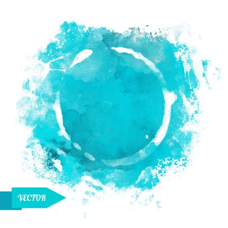 Acuarela manchas círculo de pintura aislado en un fondo blanco. arte abstracto. Marco. Espacio para el texto - vector Ilustración de vector