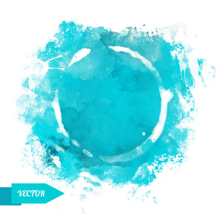 Watercolor circle paint stains isolated on a white background. Art abstract. Frame. Space for text - vector