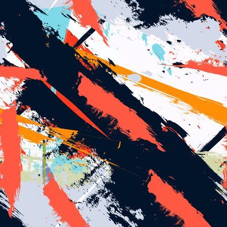 Abstrakte Kunst Grunge beunruhigt nahtlose Muster. Farbflecken. Stripes, brushstrokes. Geometrische Druck Hintergrund-Textur. Textildesign. Wallpaper - Vektor Vektorgrafik