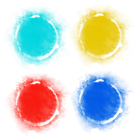 rainbow circle: Set watercolor rainbow circle paint stains isolated on a white background. Art abstract. Frames. Space for text Illustration