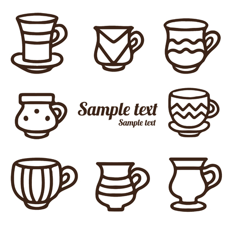 demitasse: Set hand drawn tea cups, coffee cups isolated on a white background. Icons. Line art - vector Illustration
