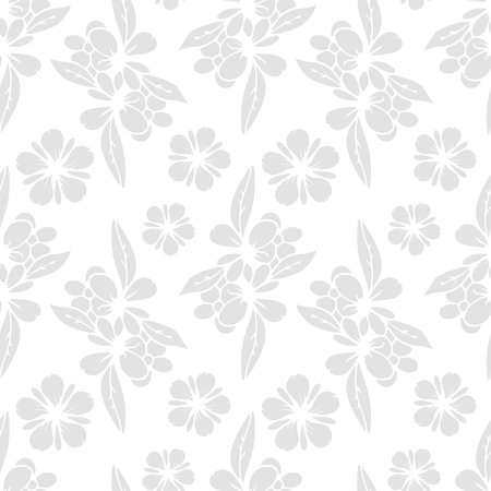 waterlily: Seamless pattern with silhouettes flowers. Abstract white floral repeating background texture. Fabric design. Wallpaper - vector