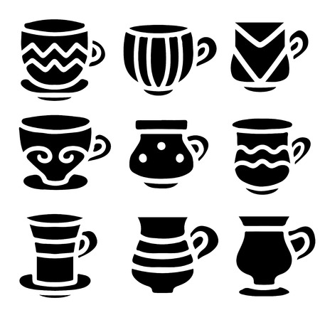 demitasse: Set black silhouettes tea cups, coffee cups isolated on a white background. Icons - vector