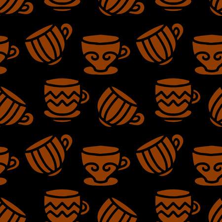 teaparty: Seamless pattern with silhouettes tea cups, coffee cups. Repeating print background texture. Fabric design. Wallpaper - vector