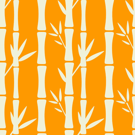 Seamless pattern with silhouettes bamboo trees and leafs in white and orange. Forest. Abstract floral repeating background. Endless print texture. Fabric design. Wallpaper - vector