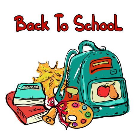 Back to school cartoon art drawing set isolated on a white background - vector