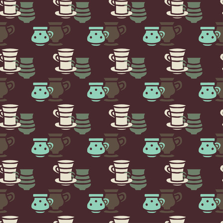 demitasse: Seamless pattern with silhouettes tea cups, coffee cups. Repeating print background texture. Fabric design. Wallpaper - vector