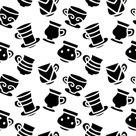 demitasse: Seamless pattern with silhouettes tea cups, coffee cups in black and white. Repeating print monochrome background texture. Fabric design. Wallpaper - vector