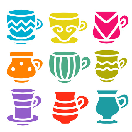 Set silhouettes tea cups, coffee cups isolated on a white background. Icons - vector