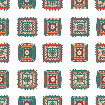 ethnical: Tribal art ethnic seamless pattern. Abstract geometric repeating background texture. Fabric design. Wallpaper - vector