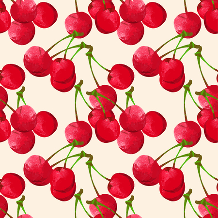 Seamless pattern with watercolor berry cherry. Endless repeating print background texture. Fabric design. Wallpaper - vector Illustration