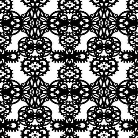 Abstract ethnic seamless pattern in black and white. Floral background monochrome texture. Endless repeating print. Fabric design. Wallpaper Illustration